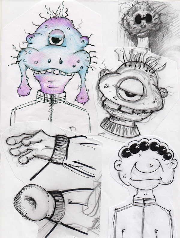 Skizzen für den Figurenbau bei Tom Haass