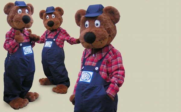 Unternehmensmaskottchen Wibu Bär. Beliebt und lustig.